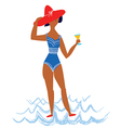 Girl on the beach cartoon vector image vector image