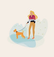 girl walking with a dog in park vector image