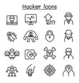 hacker icon set in thin line style vector image