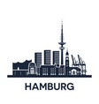 hamburg city skyline germany detailed version vector image vector image