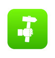 hand hoding hammer with tool icon digital green vector image