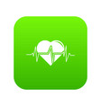 heart pulse icon green vector image vector image