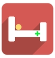 Hospital Bed Flat Rounded Square Icon with Long vector image vector image