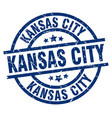 kansas city blue round grunge stamp vector image vector image