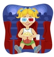 little girl with 3d glasses holding popcorn vector image vector image