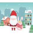 merry christmas celebration cute santa rabbit vector image vector image