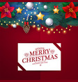 merry christmas design template with realistic fir vector image vector image