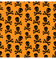Orange background with skulls vector image vector image