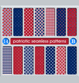 patriotic set white blue red seamless patterns vector image