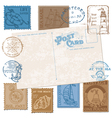 Postcard with Retro SEA Stamps vector image