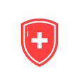 red icon of medical shield in flat style vector image