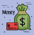 save money bag with credit card vector image