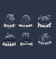 set of vintage wild boar emblems vector image vector image