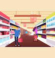 shopping people in hypermarket customers between vector image