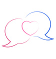 The contours of the two chat bubbles blue and red vector image vector image