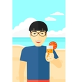 Tourist with cocktail on the beach vector image vector image