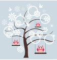 tree snow owl vector image vector image