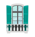 window and balcony exterior with marble baluster vector image