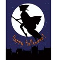 witch on a broom silhouette vector image