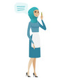 young muslim cleaner with speech bubble vector image vector image