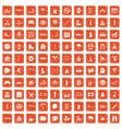 100 children activities icons set grunge orange vector image vector image
