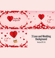 3 love or wedding background vector image vector image