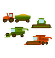 agricultural set harvesting items combine vector image