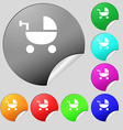 Baby Stroller icon sign Set of eight multi colored vector image vector image