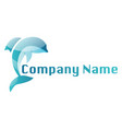 blue dolphin logo on a white background vector image vector image