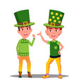 boys in green suits at st patrick day in ireland vector image vector image