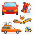 car crash collision traffic insurance safety vector image vector image