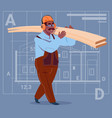 cartoon african american builder holding planks vector image vector image