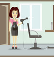 caucasian stylist standing near armchair vector image