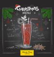 chalk drawing christmas menu cocktail design vector image vector image