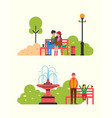couple sitting in autumn park on bench with vector image vector image