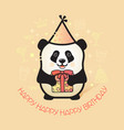 cute bear panda holds a gift happy birthday card