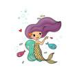 cute cartoon little mermaid siren sea theme vector image vector image