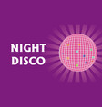 disco ball with rays on purple background vector image vector image