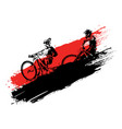 downhill mountain biking silhouettes vector image