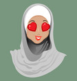 emoticon muslim girl love vector image