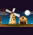 farm scene with barn and windmill at night vector image vector image