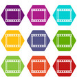 film with frames movie icon set color hexahedron vector image vector image