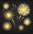 gold festival fireworks set carnival fireworks vector image