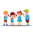 group of boys and girls eating ice cream vector image
