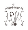 hand made sewing clothespin and needles vector image vector image