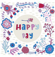 happy day flower frame vector image vector image