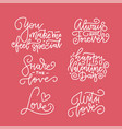 happy valentine s day lettering set of vector image vector image