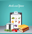 herbs and spices realistic background vector image