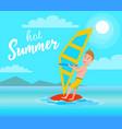 hot summer poster windsurfing sport activity vector image vector image