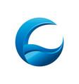 initial c moon wave logo creative concept vector image vector image